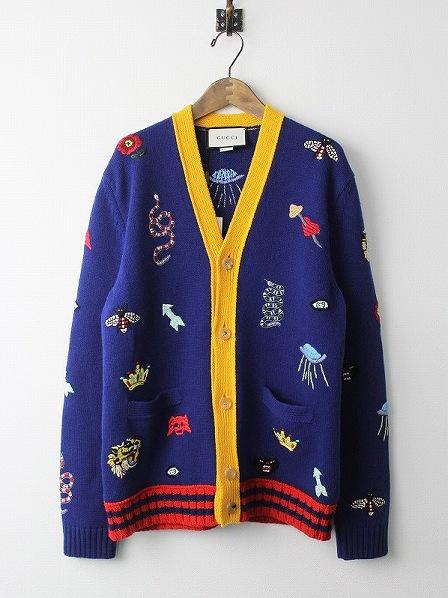 GUCCIスネーク タイガー刺繍 ウールVネックカーディガン