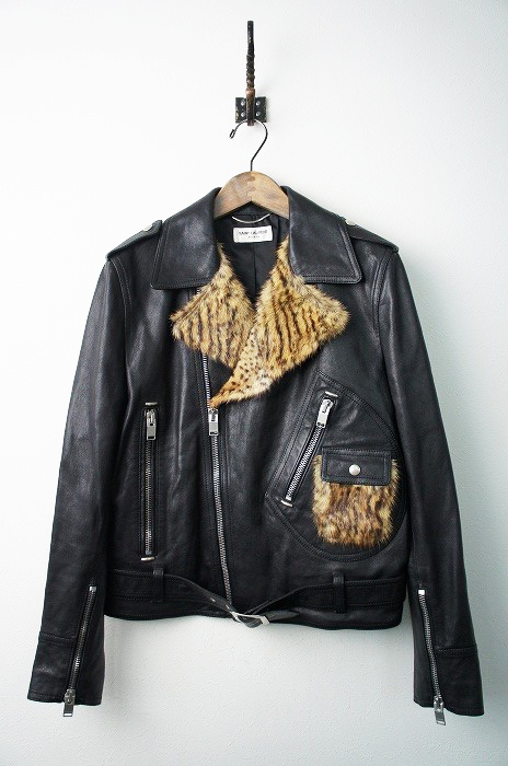 2014 ファー付き レザーライダースジャケット